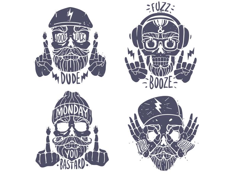 skulls emblems head face print slogan silhouette skulls cartoon illustration man collection set illustraion design vector
