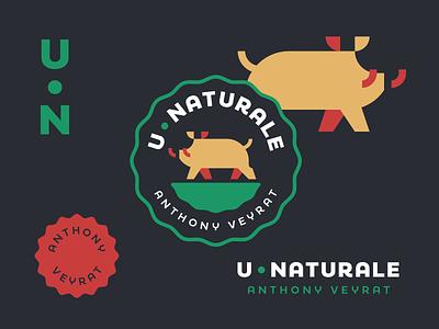 U Naturale design brand design illustration nature boar pork swine green red yellow dark badge veyrat anthony hog logo food restaurant pig natural