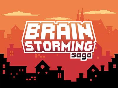 Brainstorming Saga logo art pixel game saga brainstorming