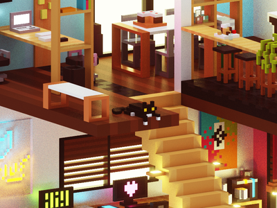 Cube Agency - Close-up magicavoxel iphone wallpaper illustration 3d purjus voxel cube