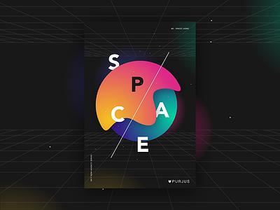 #3 - Space Lions vidid gradient lions space purjus design graphic poster