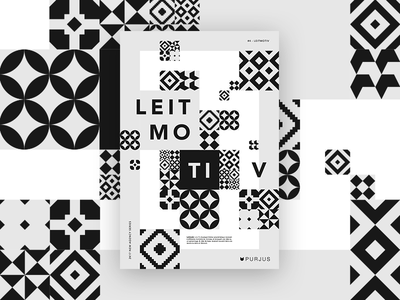 #4 - Leitmotiv pattern geometric white black leitmotiv purjus design graphic poster