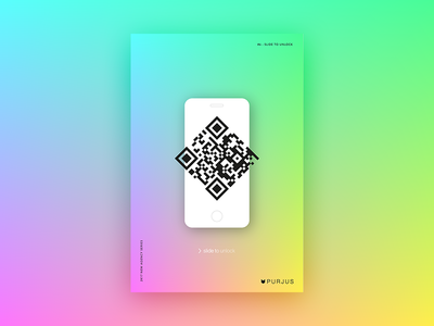 #8 - Slide to unlock colorful vivid code qr iphone gradient purjus design graphic poster