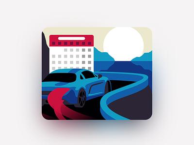 Event Calendar Illustration car luxury calendar vector illustrator flat illustration event