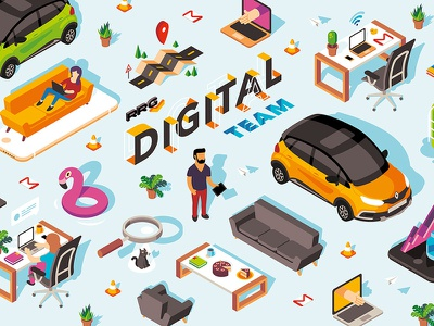 Digital Team character cat magnifier laptop digital perspective car flat vector isometric illustration