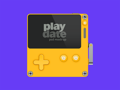 playdate Mock-up psd free download console object panic date play playdate gameboy game gaming handheld mock-up mockup