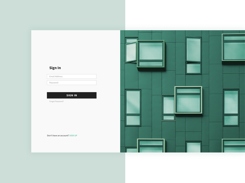 Sign In Screen for Real Estate Platform web design ui simple signinm clear sign in building green real estate