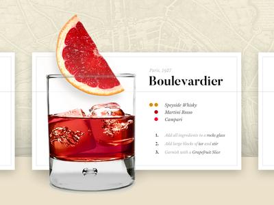Cocktail Timeline Concept card timeline floating material ui web whisky boulevardier drink cocktail