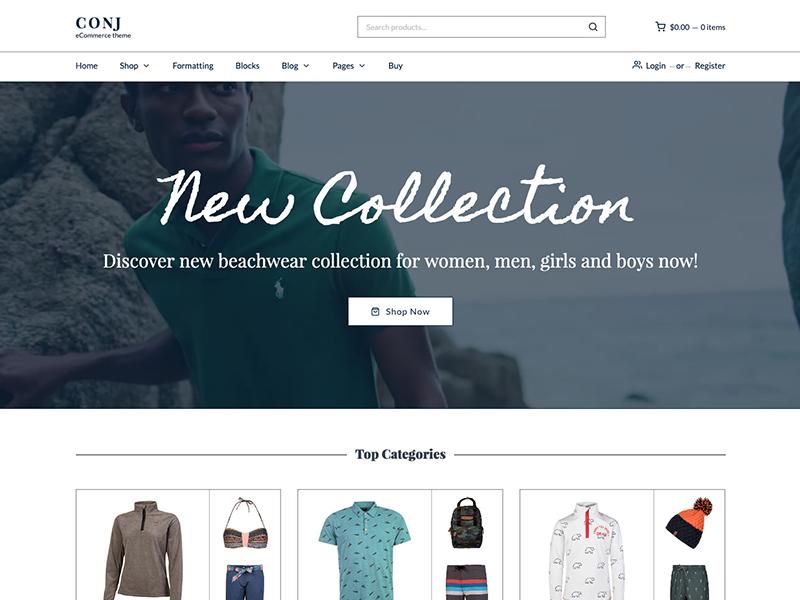 Conj Theme - Outfit Demo ui illustration clean envatomarket gutenberg clothing fashion shop minimal e-commerce wordpress theme wordpress woocommerce