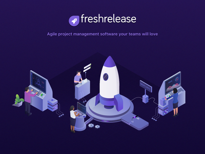 Freshrelease - Agile Project Management Software. release management test cases sprint board roadmap release user stories kanban boards cloud software development tool agile teams isometric illustration product agile projectmanagment