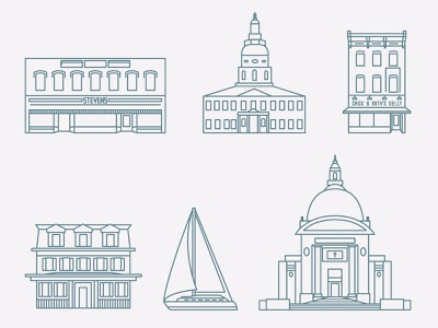Historic Annapolis, Maryland vector illustration adobe illustration adobe illustrator downtown annapolis downtown cathedral navy capital sailing sail buildings building architecture icon design icon maryland annapolis
