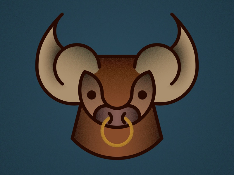 Bull cute ring farm animal farm illustration design vector branding gradients gradient texture adobe illustrator icon design icon horns livestock animal bull
