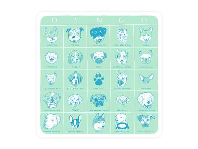 DINGO dog bingo game illustration dog bingo