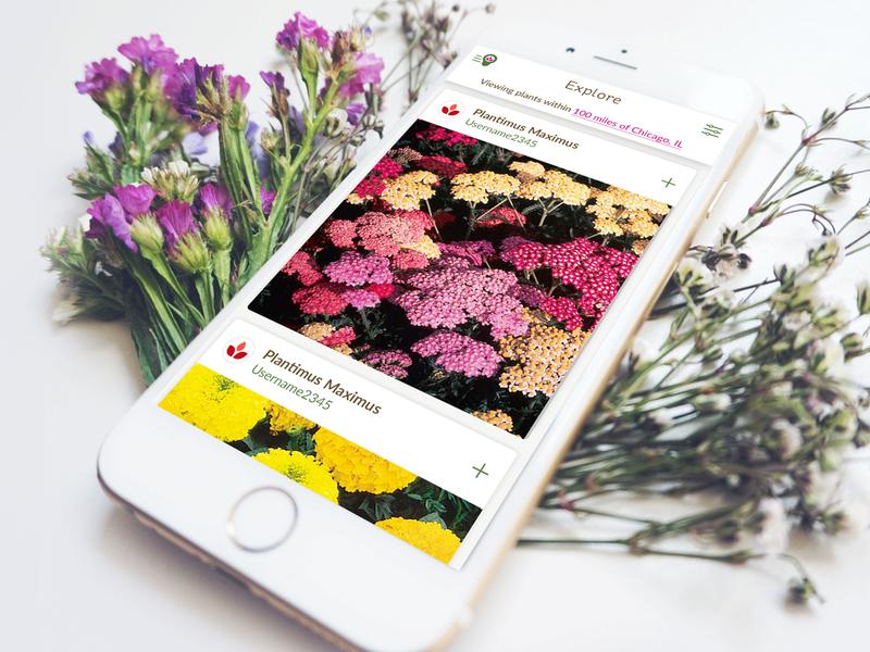 GrowIt! App - garden socially plants flowers photo app mobile ui gardening garden android ios mobile