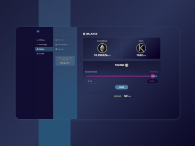 Dashboard for a crypto