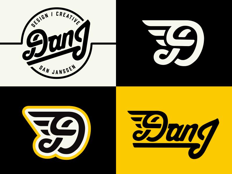 DanJ personal branding exploration  circle crest badge wings wing