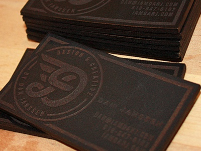 Personal leather business cards circle crest badge wings wing portfolio logo icon business card