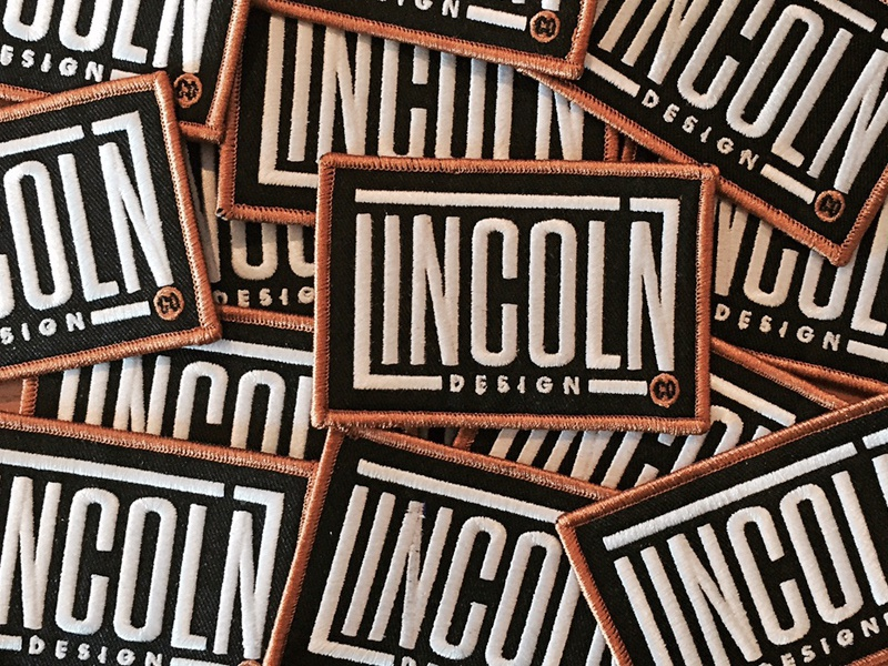 LINCOLN patches branding logo type design studio agency black square
