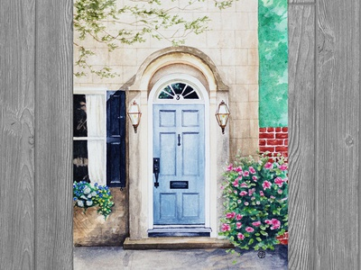 Blue Door In South Carolina south carolina front porch door facade watercolor illustration watercolor house illustration home illustration building illustration realism drawing illustration