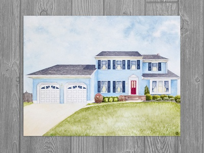 House Commission 1 facade building illustration home illustration house illustration watercolor art watercolor realism drawing illustration