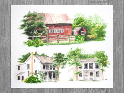 House Commission | Great-grandmother's Country Home facade building illustration home illustration house illustration watercolor realism drawing illustration