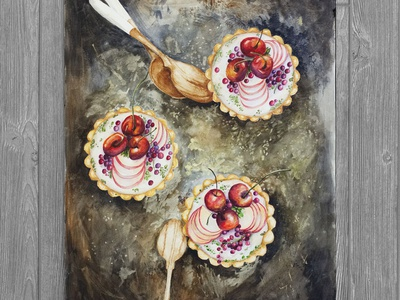 Cherry Tarts fine art fruit texture desserts food illustration food art watercolor realism drawing illustration