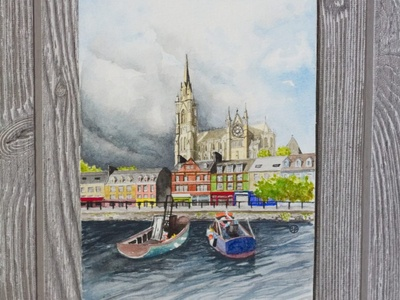 Cobh, Ireland docks church water boats landscape illustration landscape travel art building illustration watercolor drawing illustration