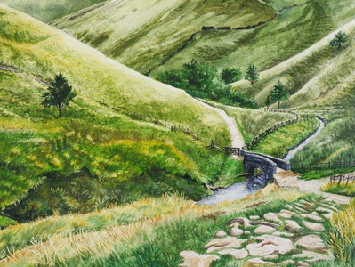 Stone Bridge To The Hills landscape illustration landscape countryside green hills green path trail bridge watercolor realism nature illustration drawing illustration