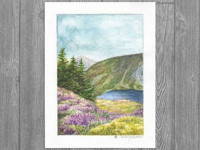 Wicklow, Ireland green purple heather landscape illustration travel art travel building illustration landscape watercolor realism nature illustration drawing illustration