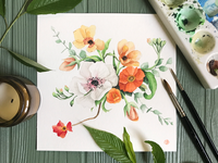Colorful, Realistic, Watercolor Florals Painting