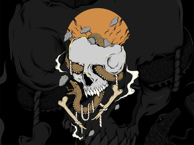 Skull Snake vector illustration snake skullsnake skull and crossbones skull vectorartwork cover design cover artwork vector design illustration