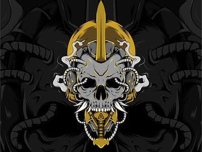 Music Skull cover art cover artwork vector design illustration