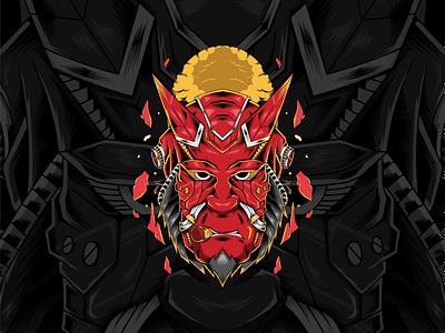 Hellbott hellboy fanart comic character hell vector illustration cover art cover design cover artwork vector design illustration