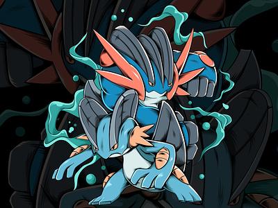 Swampert cover art vector illustration cover design artwork vector design character swampert fanart pokemon art pokemon go pokemon illustration