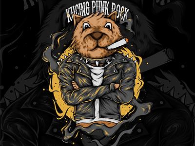 Punk Rock Cat vector illustration cover art cover design cover artwork vector design illustration