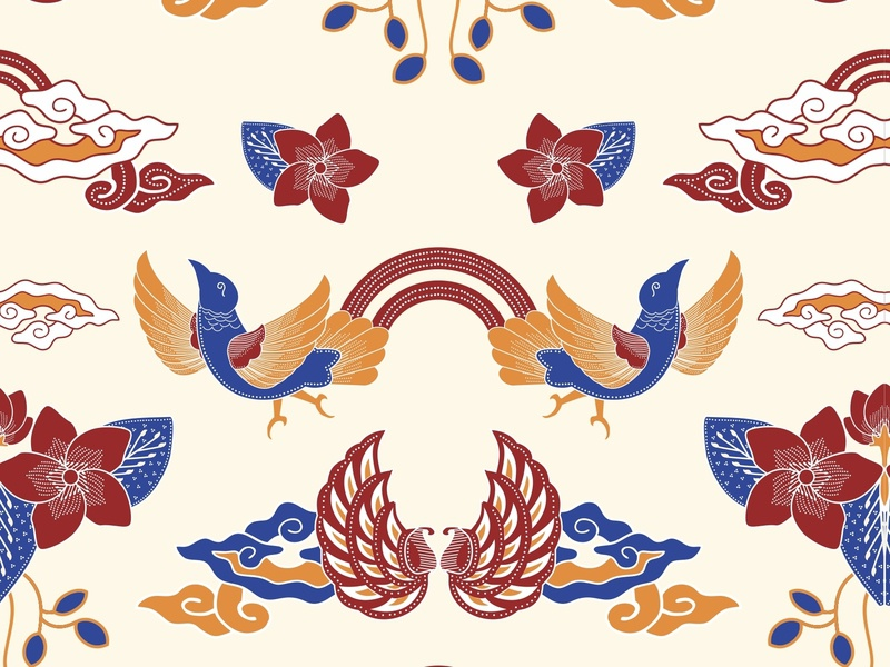 Flower Bird pattern logo vector design pattern art flat illustration batik batik indonesia