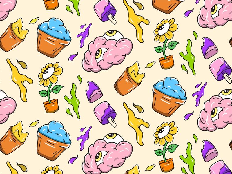 Sun Flower pattern cover design cover flat artwork pattern art vector design illustration