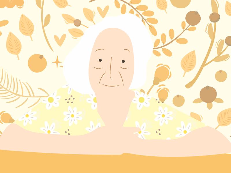 Vó Jandira woman portrait illustrator illustration old people person yellow flowers textures woman grandmother