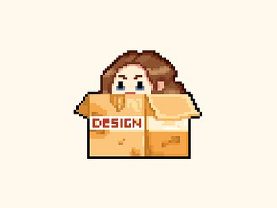 Designer Life illustration help homeless poor fun cute character vintage retro pixel art pixel 8bit game design game art black eye box girl deadline designer
