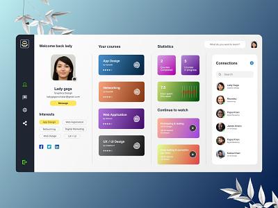 Online Course Profile Ui web App adobe xd design figmadesign adobe xd adobe photoshop xd ui kit design adobexd figma ui ux