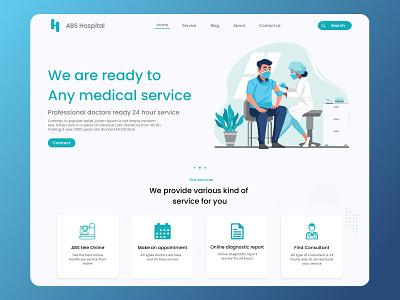 ABS Hospital Web Ui design webdesign graphic design logo branding illustration adobe photoshop xd ui kit design adobexd figma ui ux