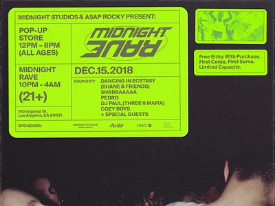 A$AP Rocky & Midnight Studios: Midnight Rave los angeles grid midnight asap rocky poster branding design typography layout
