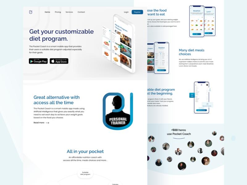 Pocket coach - Website design homepage design design uiinspiration ui uidesing website design webapp website webdesign web design
