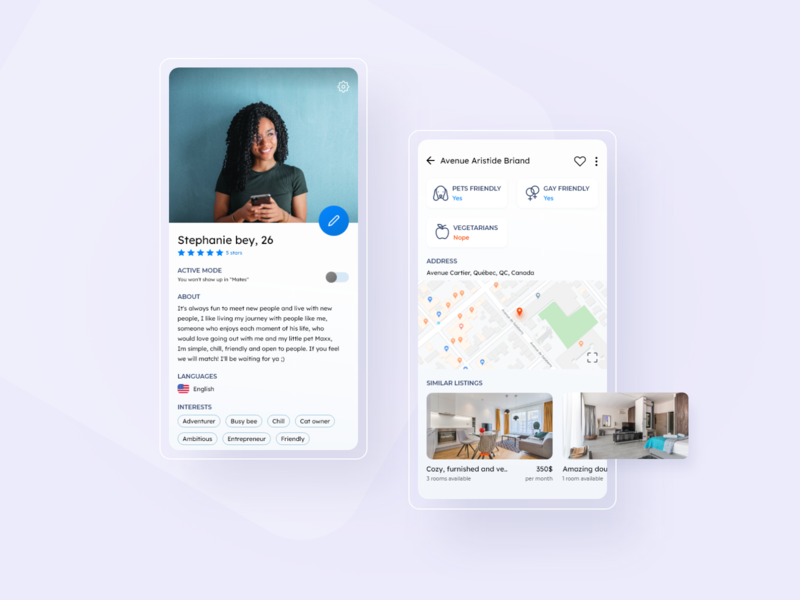 Roommate finder - Mobile app modern design uiinspiration uidesing ui mobile app design mobile app mobile design