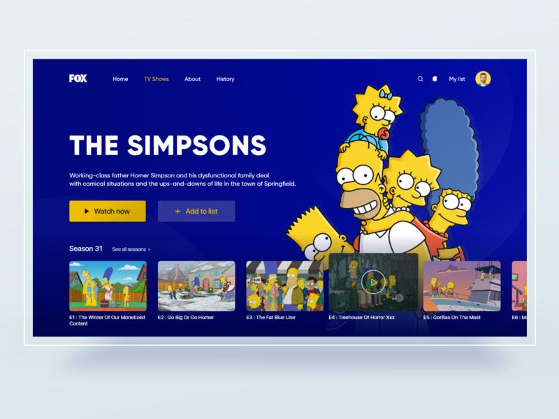 The simpsons show web UI web design website design the simpsons tv show tv simpson simpsons uxdesign webui ui webdesign uidesing uiinspiration