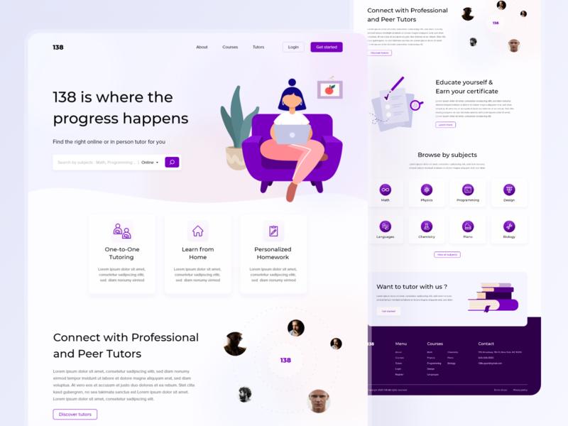 138 - Tutor finder website uidesign ui illustrations website concept webdesign tutor tutor finding tutor finder website website design