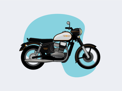 Jawa Motorcycle - Illustration flat design jawa motorcycles motorcycles vehicles car vector art vector illustration adobe illustrator india jawa bike motorcycle