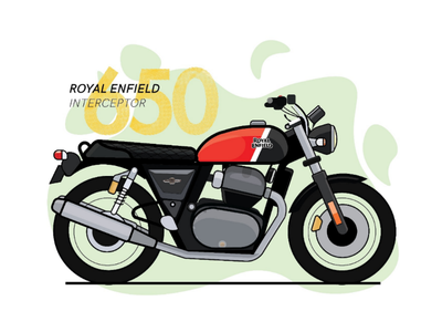 Royal Enfield Illustration line art designer bullet interceptor enfield motorcycle adobe illustrator design graphic car bangalore india flat illustration