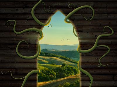 The Window window photoshop digital art photo-manipulation vines landscape