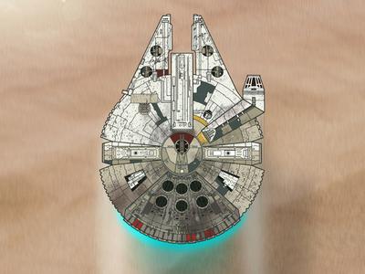 Millennium Falcon - The Force Awakens millennium falcon the force awakens star wars photoshop design poster tatooine jj abrams han solo